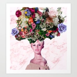 Bardot In A Bouquet 3 Art Print