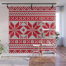 Winter knitted pattern 6 Wall Mural