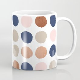 Rose Gold navy copper sparkle modern dots polka dots rosegold trendy pattern cell phone accessories Coffee Mug