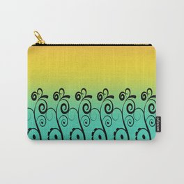 Ombre  Misty Rainbow Black Swirl Pattern - Pink, Yellow & Turquoise Carry-All Pouch