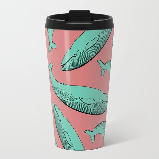 calm whale pattern Travel Mug