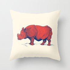 Red Rhino Throw Pillow