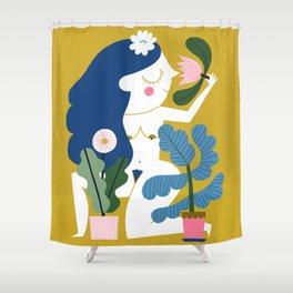 Blue Plant Lady Shower Curtain