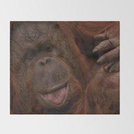 Orangutan Close-Up Throw Blanket