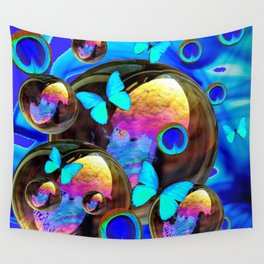 SURREAL NEON BLUE BUTTERFLIES IRIDESCENT SOAP BUBBLES PEACOCK EYES Wall Tapestry