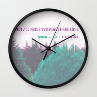 "tolkien Wall Clocks featuring Dreamland Forest - J. R. R. Tolkien Quote - ""Not all those who wander are lost."" by Canis Picta"