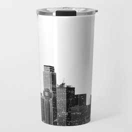 Dallas Texas Skyline in Black and White Travel Mug