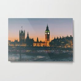 London during Sunset on the Water Metal Print