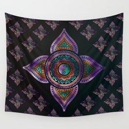 Beautiful  Yin yang in purple teal and orange Wall Tapestry