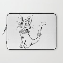 Color-or-Paint-Your-Own Cat with Flowers #ArtofGaneneK #AdultColoring #Animal Laptop Sleeve