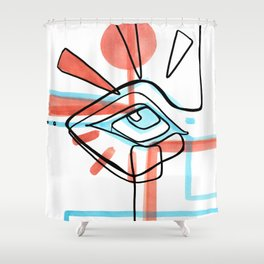 Abstract Open Eye Red and Blue Line Drawing Shower Curtain