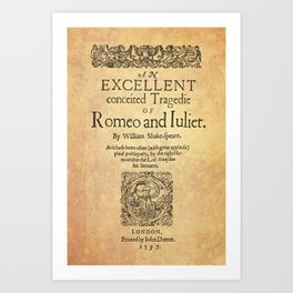 Shakespeare, Romeo and Juliet 1597 Art Print