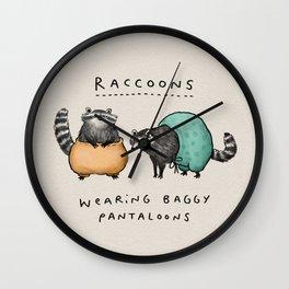 Raccoons Wearing Baggy Pantaloons Wall Clock