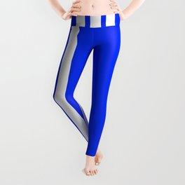 3 White Stripes on Blue Leggings