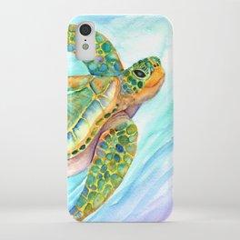 Swimming, Smiling Sea Turtle iPhone Case