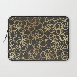 Modern Gold Circles on Charcoal Black Laptop Sleeve