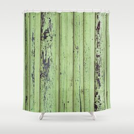 Rustic mint green grunge wood panels Shower Curtain