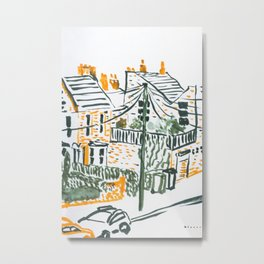 Across the road #4 -London urban illustration Metal Print