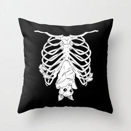 Cute Bat in Ribcage Throw Pillow