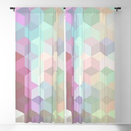 Hexagon Cube Tiles 189 Blackout Curtain
