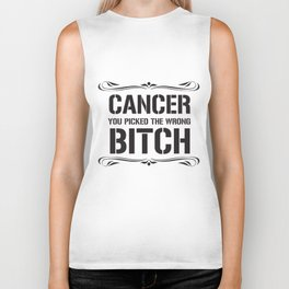 Ladies Womens Cancer Cancer You Picked Wrong Breast Cancer T-Shirts Biker Tank
