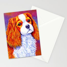 Colorful Cavalier King Charles Spaniel Stationery Cards