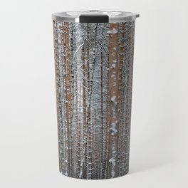 Close view of the winter pine tree forest Travel Mug