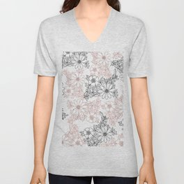 Hand drawn black faux rose gold floral Unisex V-Neck