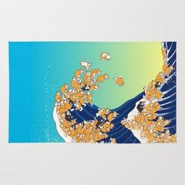 Shiba Inu in Great Wave Rug