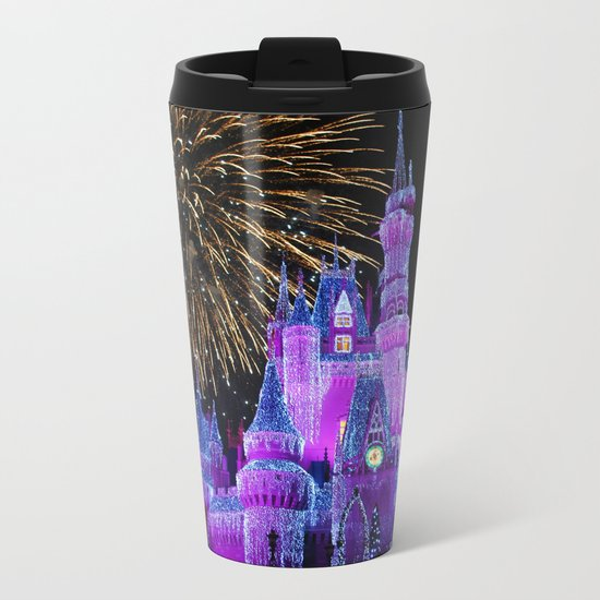 Disney Magic Kingdom Fireworks at Christmas - Cinderella Castle Metal Travel Mug