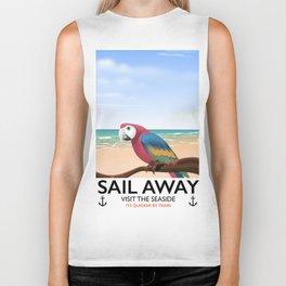 Sail Away Visit the seaside Parrot Biker Tank