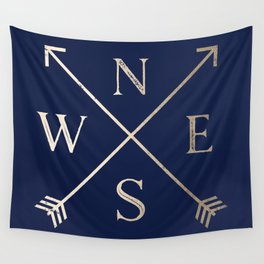 Gold on Navy Blue Compass Wall Tapestry