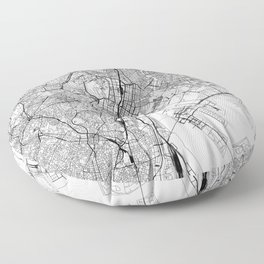 Tokyo White Map Floor Pillow