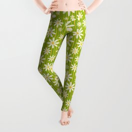 Bohemian Retro 70s Groovy Daisy Pattern with Golden Stripes , Hand-painted in Fresh Meadow Green  Leggings