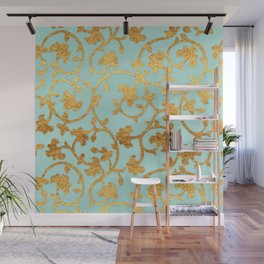 Golden Damask pattern Wall Mural