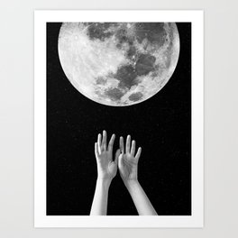 Moon, Hands, Space, Stars, Collage, Modern, Minimal Art Print Art Print