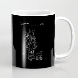 NASA Space Suit Patent - White on Black Coffee Mug