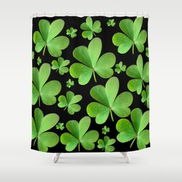 Clovers on Black Shower Curtain