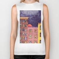 city Biker Tanks featuring City by Dawn Patel Art