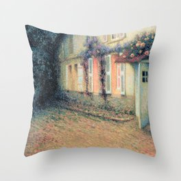 Henri Le Sidaner - Roses and Wisterias on the House (new color editing) Throw Pillow