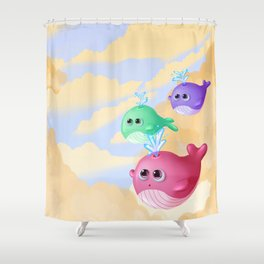 Tiny whales Shower Curtain