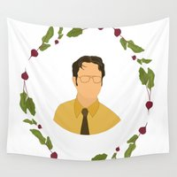 dwight Wall Tapestries featuring Dwight K Schrute by Cheese on Toast