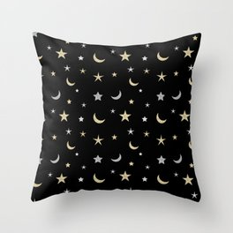 Gold and silver moon and star pattern on black background Throw Pillow
