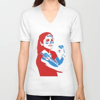 feminism V-neck T-shirts featuring Feminism by DebbieHughes