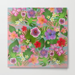 Pink Tropical flowers exotic colorful happy summer Metal Print