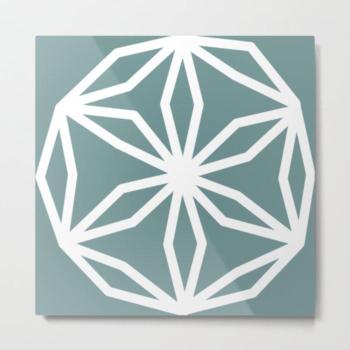 CUBIC FLOWER PATTERN - blue Metal Print