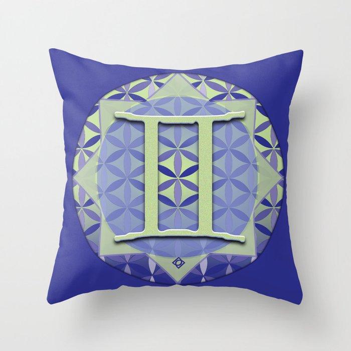 GEMINI Flower of Life Astrology Design Throw Pillow