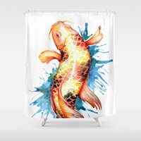 koi fish Shower Curtains featuring Koi Fish by Sam Nagel