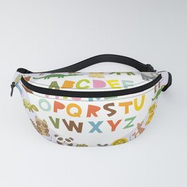 back to school. alphabet for kids from A to Z. funny cartoon animals Fanny Pack
