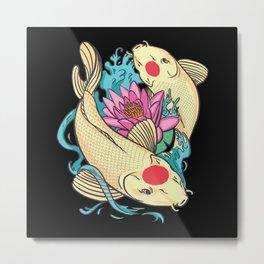 Koi fish tancho colorful with lotus flower gift Metal Print